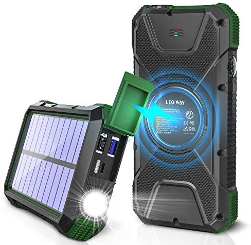 Solar Charger 20000mAh Solar Power Bank Qi Wireless Charger for Cell Phone External Battery product image