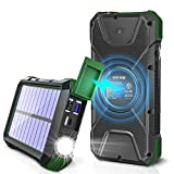 Solar Charger, 20000mAh Solar Power Bank, Qi Wireless Charger for Cell Phone, External Battery Pack for Camping, Outdoor, Portable...