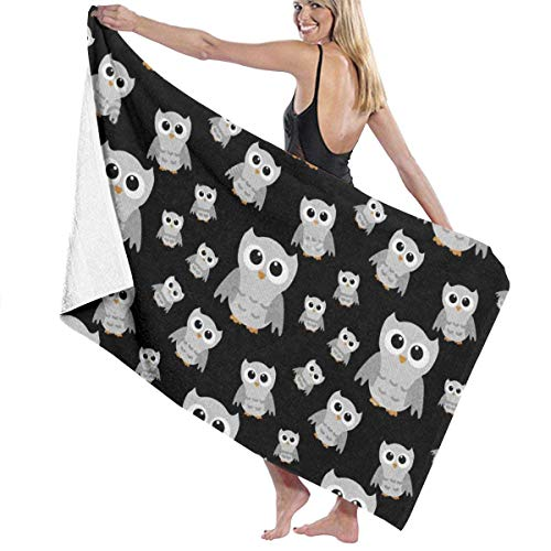 Grey Owl Quick Drying Beach Towels, Personality Bath Towel,Towels Beach Blanket for Boating, Pool, Beach,and Travel. (32 X 52 Inch)
