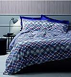 Zucchi - Juego de sábanas de algodón puro clásico con diseño Chevron bajo + encimera + funda de almohada (Pérgola B1, para cama de matrimonio de 2 plazas)