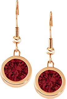 Quiges Rose Gold Stainless Steel 12mm Mini Coin Drop Earring and Red Zirconia Coin with Fishhook Backings