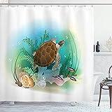 Ocean Decor - Juego de cortinas de ducha, diseño de tortuga marina en el océano, impresión de ilustración de acuarios, accesorios de baño, 72 x 72 pulgadas, color verde y marrón