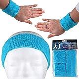 Alsino Cinta para el sudor, juego de bandas elásticas para el sudor, para hombre y mujer, para fitness, a rayas, estilo retro, de rizo de los años 80, para Carnaval (azul claro)