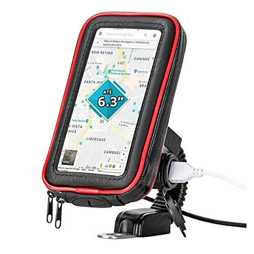 """Suporte para Celular até 6.3"""" para Retrovisor de Moto com Carregador USB 2A Integrado Case Impermeável Rotação 360º Exbom SPCA35L"""
