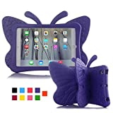iPad case for Kids, Feitenn 3D Cartoon Butterfly Non-Toxic EVA Light Weight Kid Proof Shockproof case with Kickstand for ipad 5/ ipad 6 /ipad pro 9.7/ New iPad 2017 case (Purple)