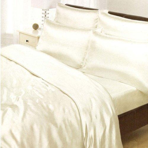 Textiles / Home Crema de satén Super King Funda nórdica, sábana Bajera y 4 Fundas de Almohada
