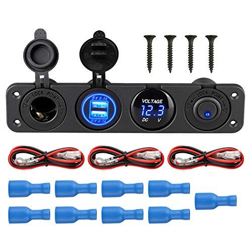 EEEKit 4 in 1 wasserdichtes Multifunktionspanel, mit 12 V Steckdose, Dual USB-Ladegerät, Blauer LED-Voltmeter, Beleuchteter Kippschalter für RV Truck Marine Boat Trailer Vehicles Yacht SUV