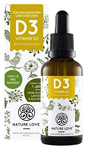 NATURE LOVE® Vitamin D3 - Laborgeprüfte 1000 I.E. pro Tropfen - Premium: sehr hohe Stabilität - Flüssig in Tropfen (50ml) - Hochdosiert, ohne unerwünschte Zusätze, hergestellt in Deutschland