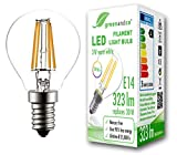 Bombilla de filamento LED greenandco® IRC 90+ E14 G45 3W (corresponde a 30W) 323lm 2700K (blanco cálido) 360° 230V AC vidrio, sin parpadeo, no regulable