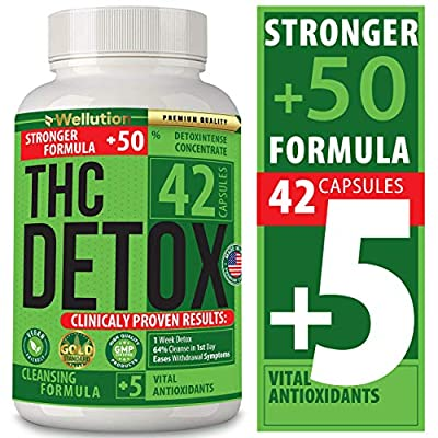 THC Detox Complete Body Cleanse - Natural, Healthy Cleansing Support for Liver, Urinary Tract, Kidney, Digestive System - 5X Strength, Fast Action Flush - 42 Vegan Capsules