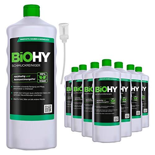 BiOHY Schmuckreiniger (9x1l Flasche) + Dosierer | AKTIVE GLANZFORMEL | Konzentrat für jedes Ultraschallgerät | Nachhaltige und schonende Reinigung für Uhren, Brillen, Schmuck und Edelmetalle