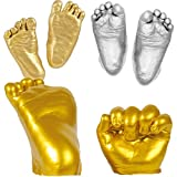 YeahiBaby Baby Handprint & Footprint DIY Hand Foot Print 3D Plaster Mold - Golden