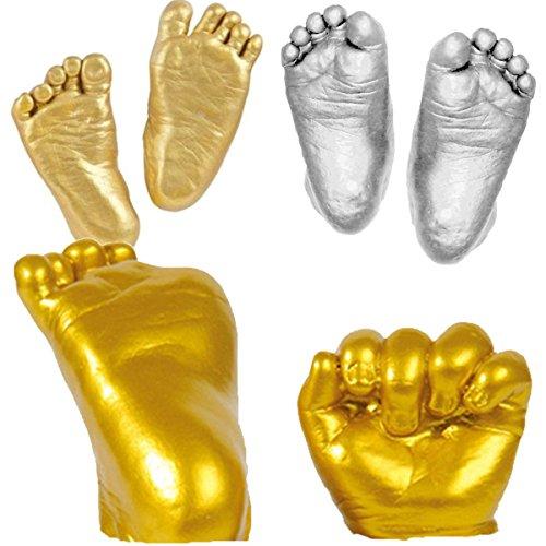 YeahiBaby Baby Handprint & Footprint DIY Hand Foot Print 3D Plaster Mold - Golden