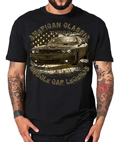 Shirtmatic Classic und Modern Muscle car Dodge Charger Challenger V8 Mopar HEMI US car (XL, Challenger Retro schwarz)