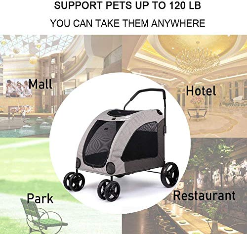 Dog Stroller For Large Pet Jogger Stroller For 2 Dogs Breathable Animal Stroller With 4 Wheel And Storage Space Pet Can Easily Walk In/Out Travel Up To 120 Lbs(55kg) 6