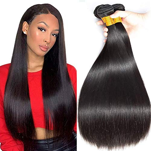 Musi Brazilian Hair Brasilianisches Echthaar Extensions Virgin Straight Hair Bundles Brazilian Human Hair Weave Menschliches Haar 300g Natural Black 12 14 16 Inch