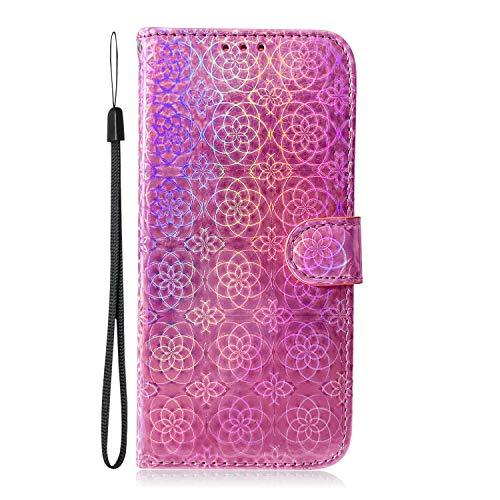 Fatcatparadise Coque Compatible Sony Xperia XZ3 [avec Verre Trempé], 3D PU Bling Glitter Flip Housse Étui Rabat Cover Wallet Portefeuille Support avec Porte-Cartes Case (Rose)