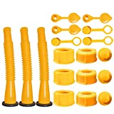 Gas Can Spout Replacement,Gas Can Nozzle,(3 Kit-Yellow) with 6 Screw Collar Caps(3 Coarse Thread &3 Fine Thread-Fits Most of The Cans) with Gas Can Vent Caps,Thick Rubber pad,Spout Cover,Base Caps