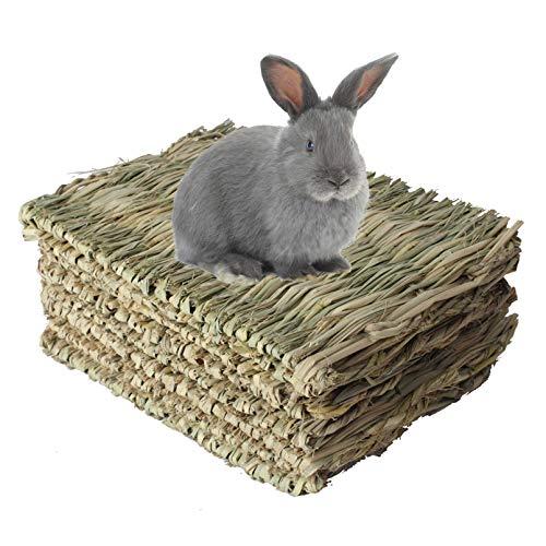 kathosn 8 PCS Bunny Grass Mat Natural Woven Pet Bed Nest Mats Rabbits Chew Toys for Hamsters Parrot...