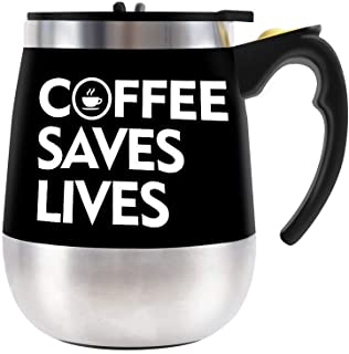 Update Self Stirring Mug Auto Self Mixing Stainless Steel Cup for Bulletproof Coffee/Tea/Hot Chocolate/Milk Mug for Office/Kitchen/Travel/Home -450ml/15oz (Black) (coffee saves live)