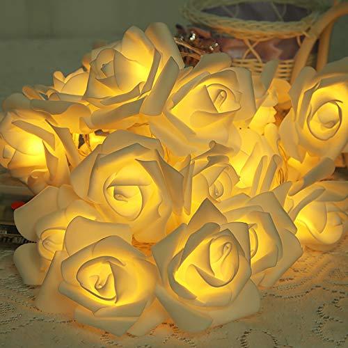 Mobxpar 3m 20er LED Rosen Lichterkette   innen batteriebetrieben   LED Künstliche Rosen Lichterketten   Rose Fairy Lights   20 Blumen Rosengirlande   Romantische Deko für Zimmer (Warmweiß)