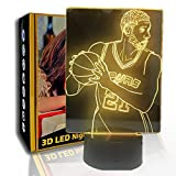 JINYI 3D Luz nocturna Basketball Celebrity, lámpara de ilusión óptica LED, C- Touch Crack Blanco (7 colores), Regalo para niña, Lámpara de escritorio