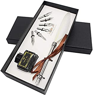 Quill Pen and Ink Set - Feather Dip Pen with Black Ink Well and 6 Nibs - Calligraphy Pen and Ink Gift Set for Beginners – White Feather Pen - Kunida Designs