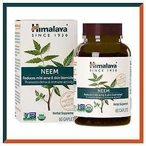 Himalaya USDA Comprimidos de Neem | Remedio para el acné y las espinillas | Promueve la desintoxicación e inmunidad| Equivalentes a 5300mg de polvo | 60 cápsulas veganas | Suministro para 2 meses