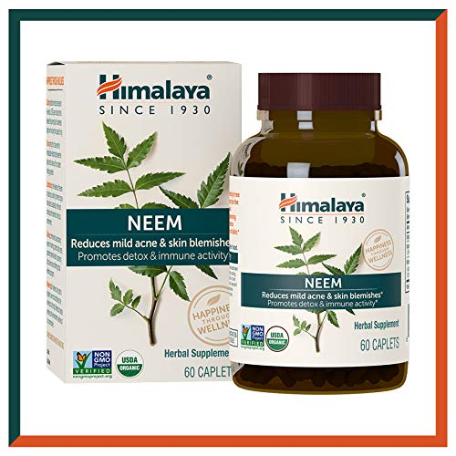 Himalaya USDA Neem Caplets | For Clear Skin, Acne & Pimple Remedy | Promotes Immunity & Detox for Healthier Skin | High Strength Equiv. 5300mg | 60 Veg Caps | 2-Month Supply