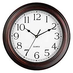 Wall Clock - Battery Operated 12 Inch Silent Non-Ticking Wall Clocks - Vintage Retro Rustic Style for Living Room Decor, Kitchen (Bronze)