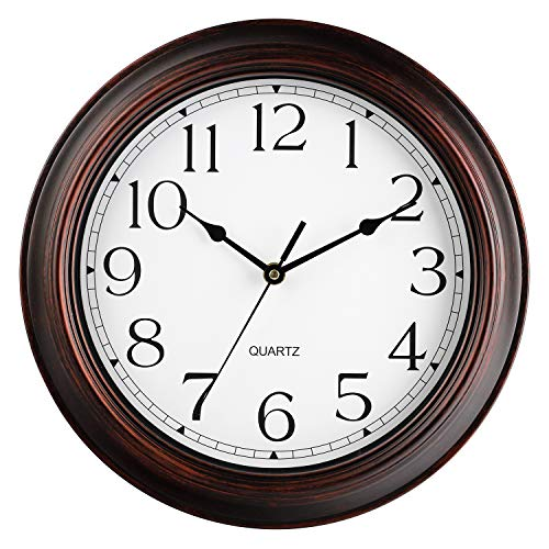 Wall Clock - Battery Operated 12 Inch Silent Non-Ticking Wall Clocks - Vintage Retro Rustic Style Decorative for Living Room , Kitchen (Bronze)