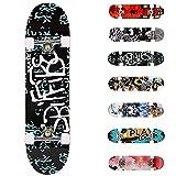 WeSkate Planche à roulettes pour Les débutants, 31 x 8'' Complète Skateboard 7 Plis Double Kick Concave Planche de Skate Anti-Dérapant Roues PU pour Les Enfants Jeunes et Adultes (Lettre)