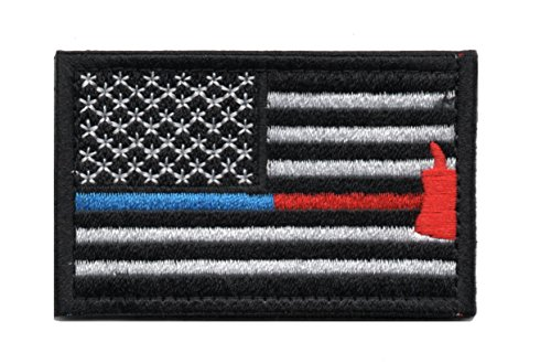 Tactical American Flag Patch Thin Blue & Red Line Firefighter Axe Embroidered Military Uniform Emblem with Hook and Loop