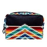 Neceser de Maquillaje para Mujeres y niñas, Bolso cosmético, Kit de Viaje, Organizador, Colorido, Tribal, patrón Cuadrado Nativo