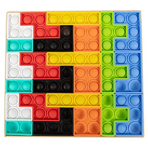 GooKit Push Bubble Sensory Fidget Toys,Tetris Jigsaw Puzzle Toys Pop Push it, Needs Stress Relief Squeeze Toys for Kids Adult (multicolored-24pcs)