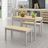 Panana Solid Pine Wooden Dining Set Table and Bench Kitchen Dining Furniture Set (Grey)