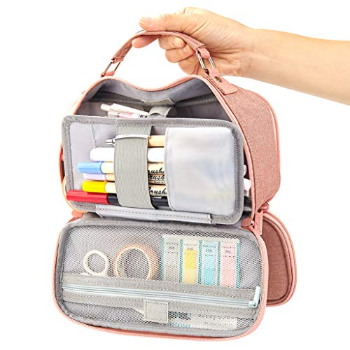 EASTHILL Big Capacity Pencil Case Stationery Storage Large Handheld Pen Pouch Bag Multiple Compartment Double Zipper Cosmetic Portable High School Organizer College Student Girl Teen Adult-Dark Pink