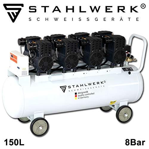 STAHLWERK Druckluft Flüsterkompressor ST 1508 pro - 150 L Kessel, 8 Bar, ölfrei, 480 L/Min, sehr leise, sehr kompakt, weiß, 7 Jahre Garantie