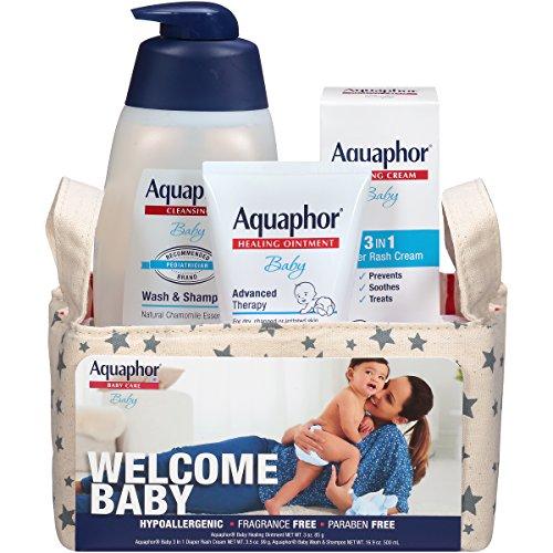 Aquaphor Baby Welcome Baby Gift Set – Healing Ointment, Wash and Shampoo, 3 in 1 Diaper Rash Cream