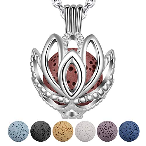 INFUSEU Aromatherapy Necklace Oil Diffuser, Lotus Flower Silver Plated Jewellery Anxiety Necklace Locket Pendant with 5 Lava Stones Rock and 24' Link Chain for Women