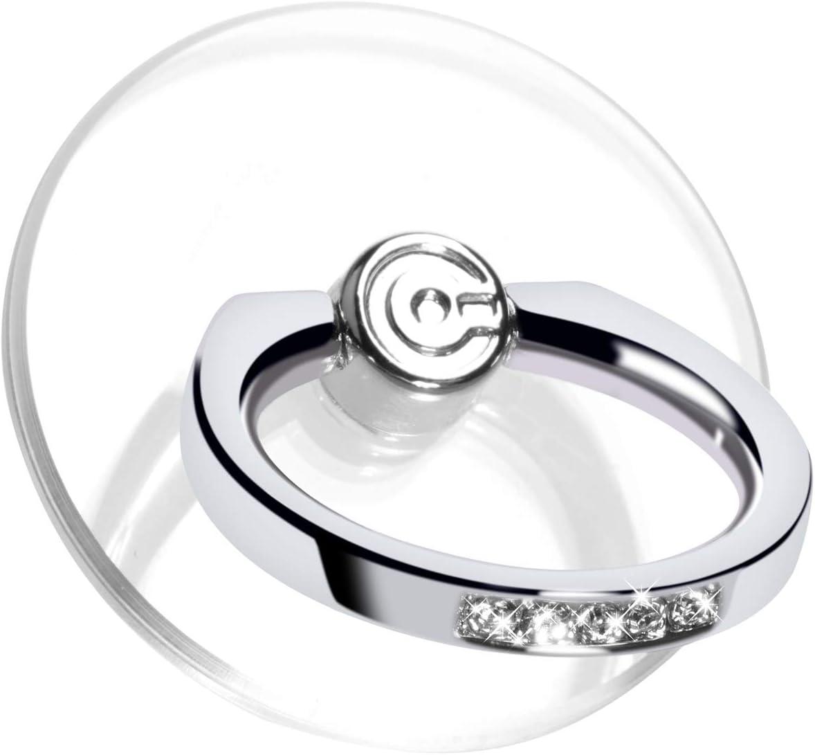 Transparent Phone Ring Stand Holder - EI Sonador Cell Phone Ring Holder Finger Grip 360 Degree Rotation (2 Silver Diamond)