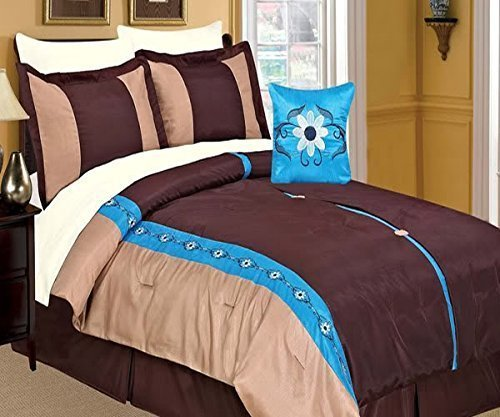 Dovedote 8PC Vanessa Embroidery Flowers Comforter Set Including 4 Pieces White Sheet Set (Queen, Coffee)