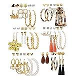 36 Pairs Fashion Earrings Packs for Women Girls, 2020 Gold Crystal Butterfly Star Pearl Tassel Acrylic Hoop Stud Drop Dangle Earrings Set Wholesale BOHO Jewelry Set