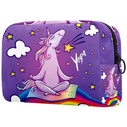 Neceser de Maquillaje Estuche Escolar para Cosméticos Bolsa de Aseo Grande Unicornio Haciendo Yoga