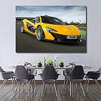 壁の写真黄色い車マクラーレンp1スーパーカー車両キャンバス絵画ポスターとプリント壁アート現代の家の装飾60x90cmフレームなし