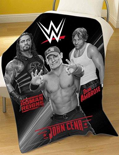 Offizieller WWE Wende-Bettbezug für ein Einzelbett, Bettdeckenset mit Wrestling-Stars., 100%_Polyester/Fleece/Polyester, Blanket - WWE Stars, 100 x 150 cm