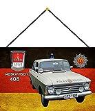FS Polizei Auto DDR Moskwitsch 408 Volkspolizei Blechschild Schild gewölbt Metal Sign 20 x 30 cm mit Kordel