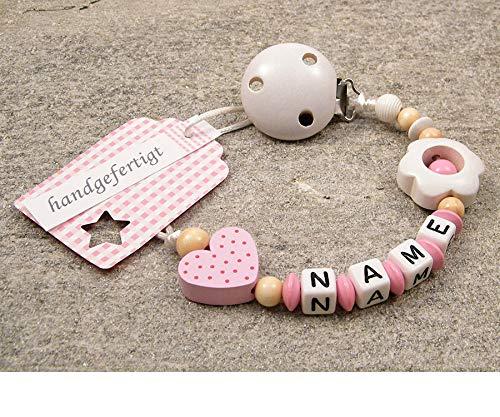 kleinerStorch Baby SCHNULLERKETTE mit Namen - Schnullerhalter mit Wunschnamen - Mädchen Motiv Herz in rosa Blume in weiß
