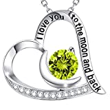 GinoMay Mothers Day Birthday Gifts Mum I Love You to the Moon and Back Necklace Sterling Silver Peridot August Birthstone Jewellery