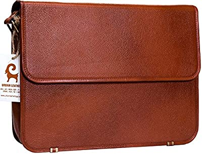 Urban Leather Laptop Shoulder Messenger Bags for Men Office University Work Satchel Bag New Job Gifts for Teen Boys Executive Briefcase Cross Body Fit - Flap Over (Brown, Size 15 inch) by Urban Leather